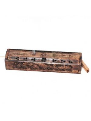 Carved Mango Wood Incense Burner Box