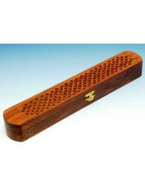 Wooden Incense Burner Box Top Filigree 12