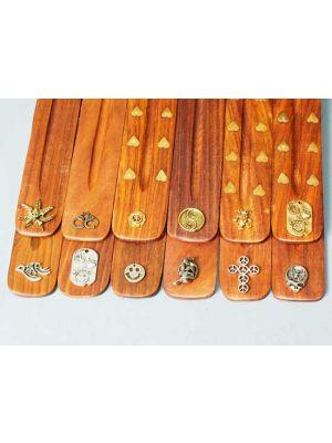 Wooden Incense Burners - Hippie Symbols Set/12