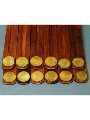 Wooden Incense Burners - Zodiac Symbols Set/12