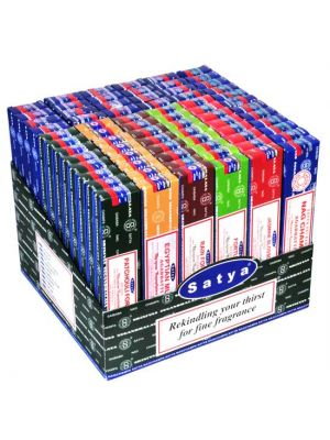 Satya Nag Champa Incense PrePack Display - 72 Pcs. 15g. each