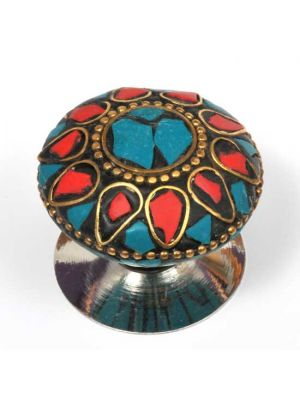 Gold, Blue, and Red Mosaic Knob.