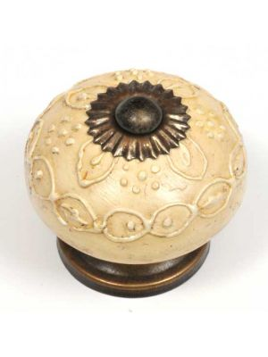 Hand Painted Antique Ivory colored knob