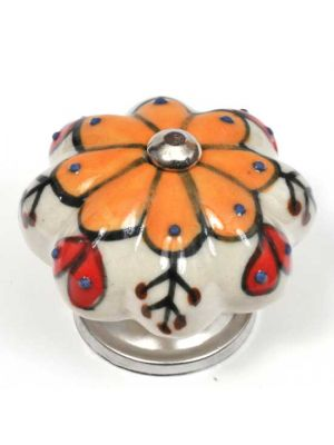 Hand Painted Ceramic Knob With Colorful Floral Design.