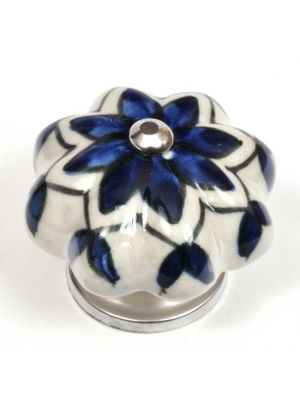 Hand Painted Ceramic Knob With Blue Floral Design.