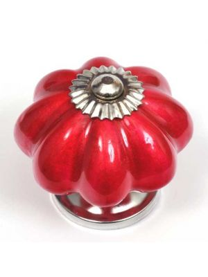 Ceramic Pearlescent Red Flower Knob.