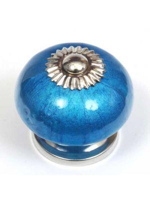 Ceramic Pearlescent Teal Round Knob.