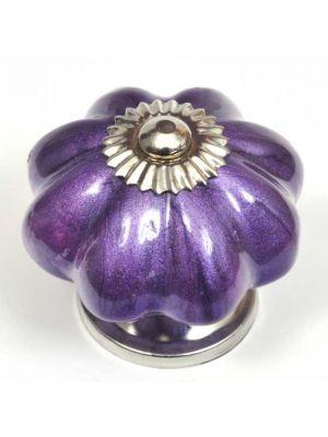 Ceramic Pearlescent Purple Flower Knob.