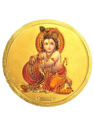 Round Gold Krishna Fridge Magnet