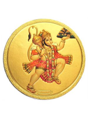 Round Gold Hanuman Fridge Magnet
