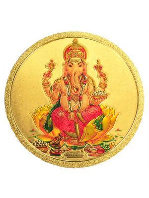 Round Gold Ganesha Fridge Magnet