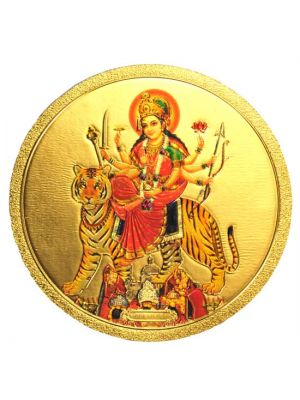 Round Gold Durga Fridge Magnet