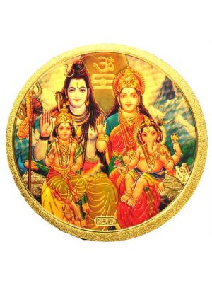 Round Gold Shiva Family Fridge Magnet