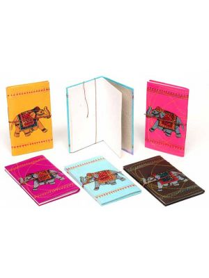 Hand Made Elephant Printed Notebook Large - Set/6