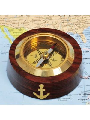 Brass & Wood Nautical Compass