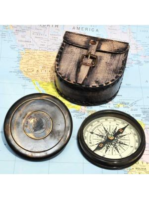 Nautical Compass & Leather Case