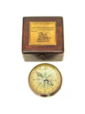Brass Compass with Wood Storage Box