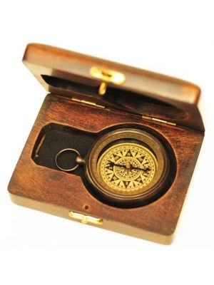 Brass Compass in Wood Box