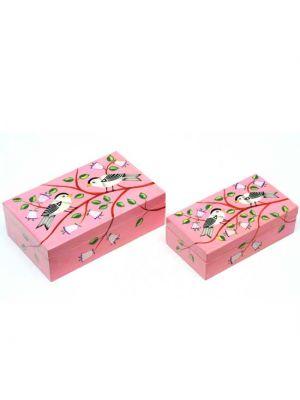 Pink Papier-Mâché Nesting Bird Boxes Set/2