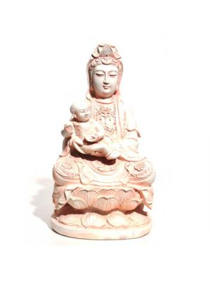 White/Pink Polyresin Quan Yin with Baby 12