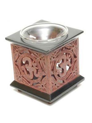 Stone Red/Black Om Square Aroma lamp Set/2