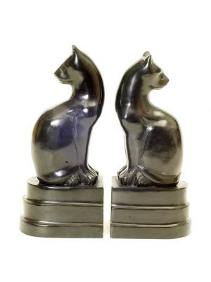 Black Soap Stone Cat  Book Ends Set/2