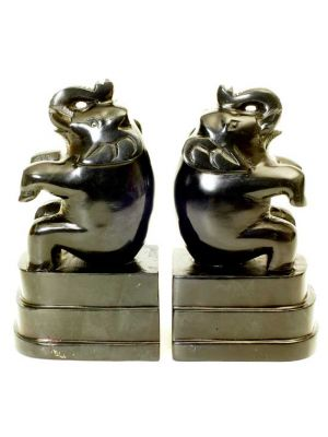 Black Soap Stone Elephant  Book Ends Set/2