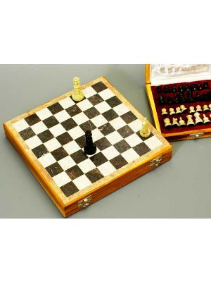 Beautiful Hand Carved Stone 10 inch Travel Chess Set
