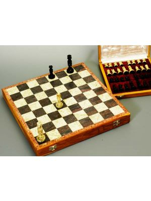 Beautiful Hand Carved Stone 16 inch  Chess Set