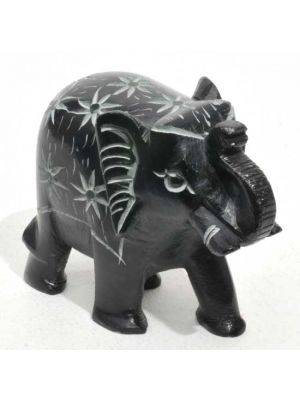 Stone Elephant Black Carved 3