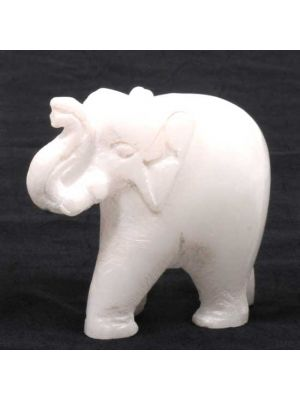 Hand Carved White Stone Elephant 2