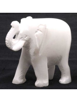 Hand Carved White Stone Elephant 2.5