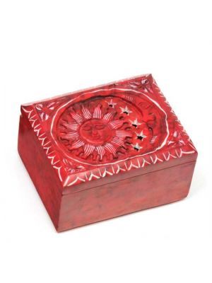 Soapstone Sun & Moon Box in Red 3.5
