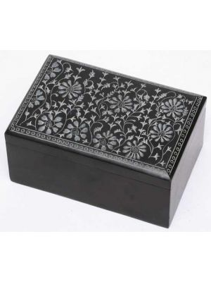 Floral Black Soapstone Box 4