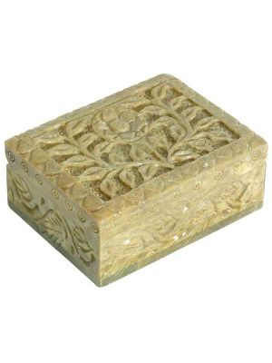 Stone Box Hand Carved and Velvet lined 3X4