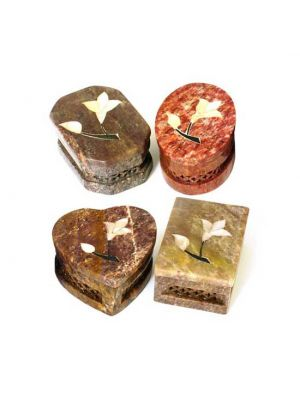 Medium Stone Boxes with Mother of Pearl Inlay Set of 4