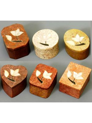 Small Stone Boxes with Mother of Pearl Inlay Set of 6
