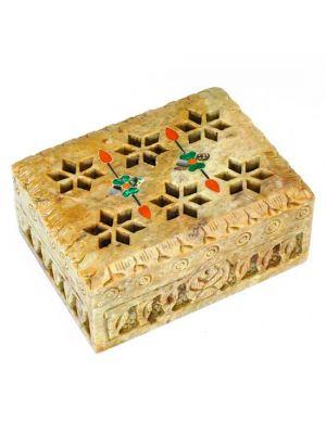 Stone Box Diamond Cut Inlaid 3X4