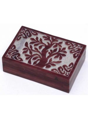 Red Tree of Life Soapstone Box