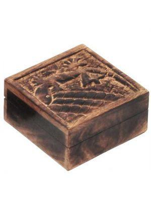 Mango Wood Carved Lizard Box