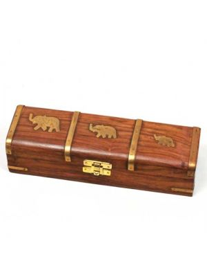 Wood Box Elephant Inlay 8.5x2.5