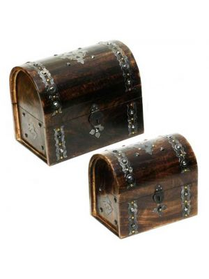 Wood Treasure Chest Set/2 12X10
