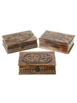 Wood Large Carved Box Set/3 12X8