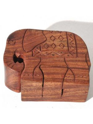 Wood Elephant Puzzle Box