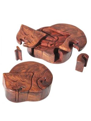 Wood Cat Puzzle Box