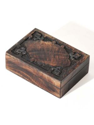Carved Wood Box with Metal Work 5