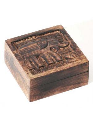 Mango Wood Carved Baby Elephant Box