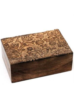 Hand Carved Mango Wood Box With Floral Detail