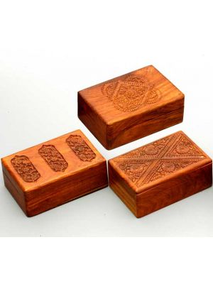 Wood Box with Hand Carved Lids Set/6