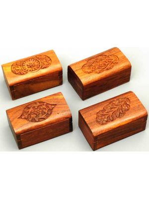Wood Box with Carved top Set/12  3x 2